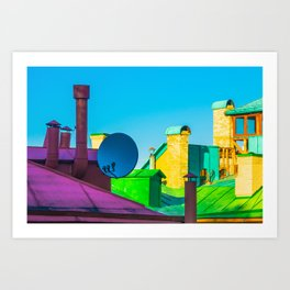 The brightness of the roofs of the city Art Print