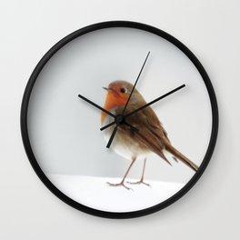 Robin into the Snow Wall Clock