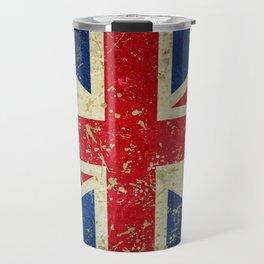 Grunge Scratched Metal Union Jack / British Flag Travel Mug