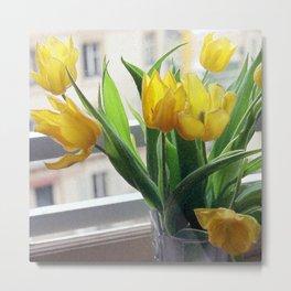 View through Yellow Tulips Metal Print
