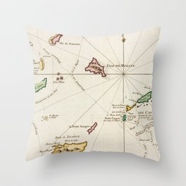 Vintage Turks and Caicos Map (1764) Throw Pillow