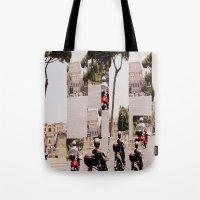 roman Tote Bags featuring Roman Traffic by Eva Lesko