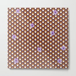 Brown Wicker With Purple Flowers Metal Print