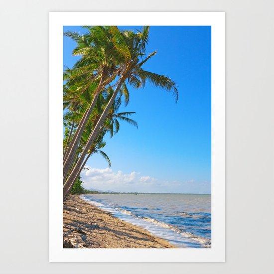 Coconut palms on beach Art Print