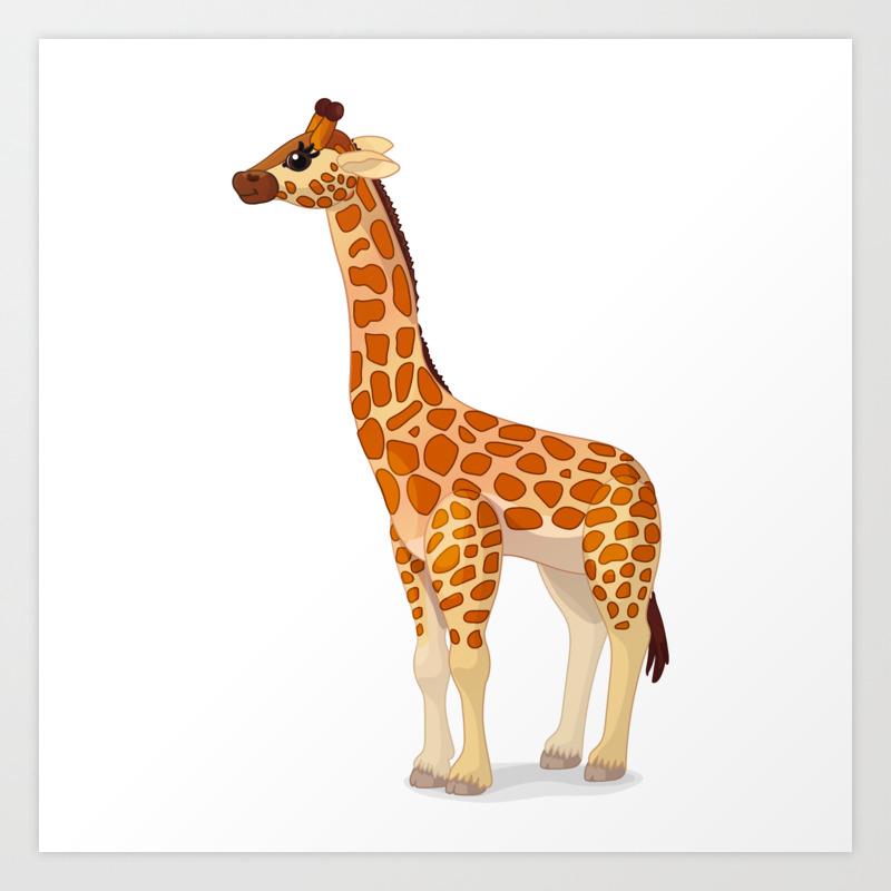 Cute Giraffe Vector Graphic Character Art Print By Vetrakori