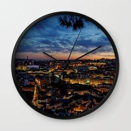 Lisbon Night Skyline Wall Clock