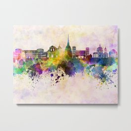 Turin skyline in watercolor background Metal Print