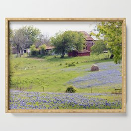 Old Red Barn and Rolling Bluebonnet Hills Serving Tray