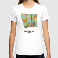 montana T-shirts featuring Montana state map modern by bri.buckley
