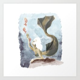 Mermaid with offspring Art Print