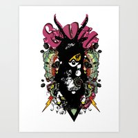 evil Art Prints featuring EVIL by DON'T NEED NO SAMURAI