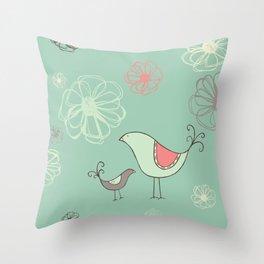 Birdies Gone Wild Revisited by Deirdre J Designs Throw Pillow