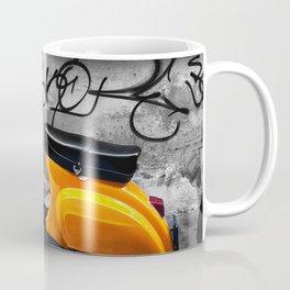 Orange Vespa in Bologna Black and White Photography Coffee Mug