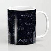 donnie darko Mugs featuring Wake Up | Donnie Darko | Alternative Film Poster by Clay Disarray