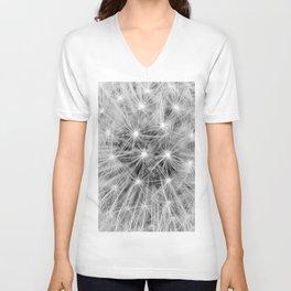 Black and white dandelion Unisex V-Neck