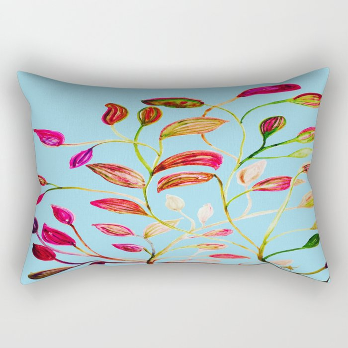 Red and Green Leaves on Light Blue Rectangular Pillow