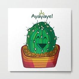 Ayayaye Cactus Ball Metal Print