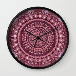 Boho Rosewood Mandala Wall Clock
