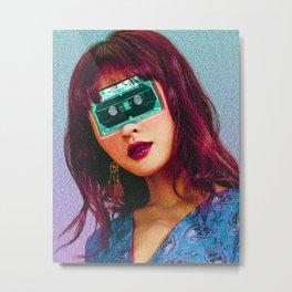 Cassette girl art print Metal Print