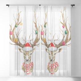 Christmas Deer Sheer Curtain