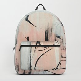 Sweet Tart: a minimal abstract mixed-media piece in pink black and white by Alyssa Hamilton Art Backpack