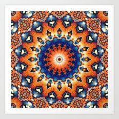 Geometric Orange And Blue Symmetry Art Print