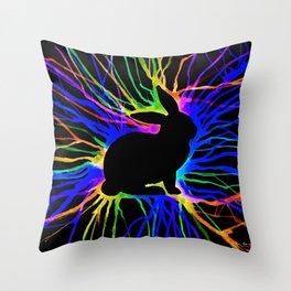 Electric Bunny At Night Throw Pillow