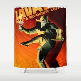 "Vintage Lavazza Italian Pagliacci ""Clown"" Coffee Lithograph Advertisement Poster Shower Curtain"