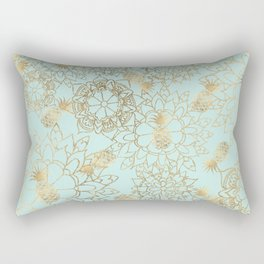 Modern teal faux gold pineapple floral illustration Rectangular Pillow