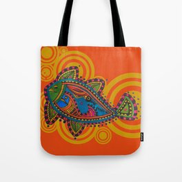 Madhubani - Orange Fish 2 Tote Bag