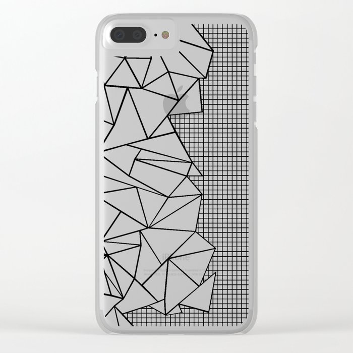 Abstraction Outline Grid on Side White Clear iPhone Case