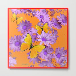 Red-Orange Yellow Butterflies Lilac Color Purple Daisies Metal Print