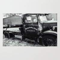 truck Area & Throw Rugs featuring Aged Truck by Michael McGimpsey
