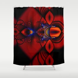 Ruby Abstract Stained Glass Window Shower Curtain