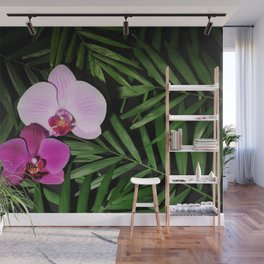 Orchids with palm leaves Wall Mural