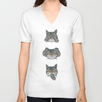 evil V-neck T-shirts featuring No Evil Cat by Huebucket