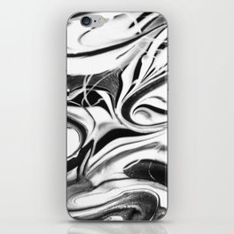 Black and white swirl - Abstract, black and white swirly, paint mix texture iPhone Skin