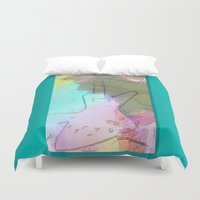 rock and roll Duvet Covers featuring Rock 'n' Roll Fantasy by Geni