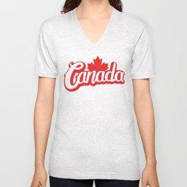 Canada Hand Lettering Type Unisex V-Neck