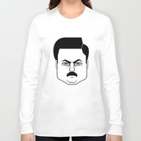 ron swanson Long Sleeve T-shirts featuring Ron Swanson by Jude Landry