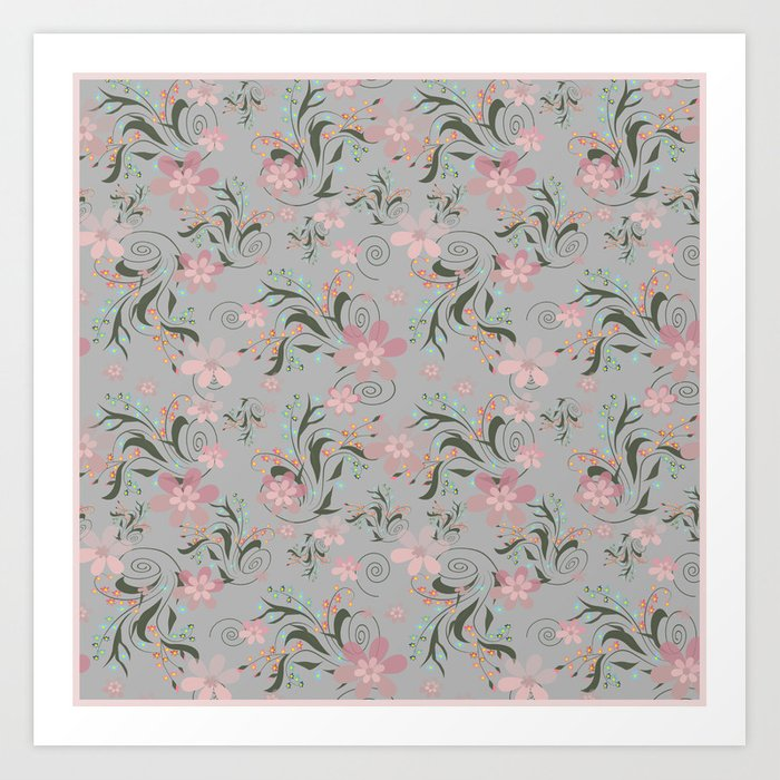 Retro . Pink flowers on grey background . Art Print