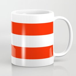 Fiesta Red and White Wide Horizontal Cabana Tent Stripe Coffee Mug