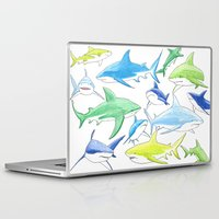 sharks Laptop & iPad Skins featuring sharks by Kathryn Rickards