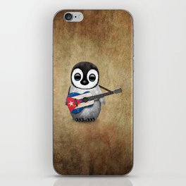 Baby Penguin Playing Cuban Flag Guitar iPhone Skin