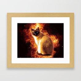 Flame Cat Framed Art Print