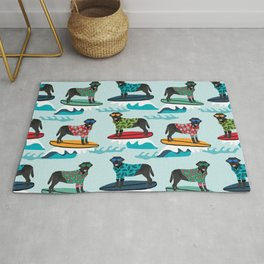 Black Labrador surfing dog breed pattern Rug