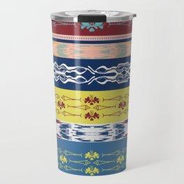 Oceanview Trim Red White Blue Ikat and Fish motif Travel Mug