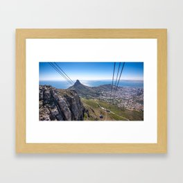 Cable car going up Table Mountain in Cape Town, South Africa Framed Art Print