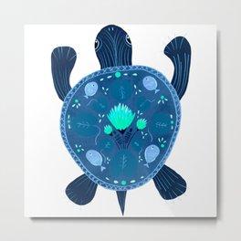 Folk Art River Turtle | Turquoise  Metal Print
