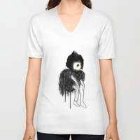 clown V-neck T-shirts featuring Clown by Maude Cournoyer